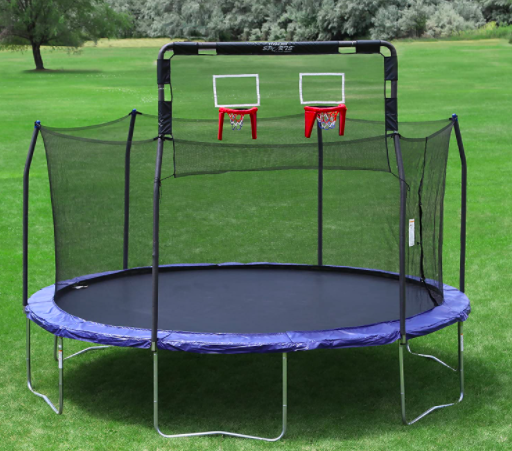 A view of a trampoline containing the Skywalker Double Trampoline Basketball Hoop Attachment.