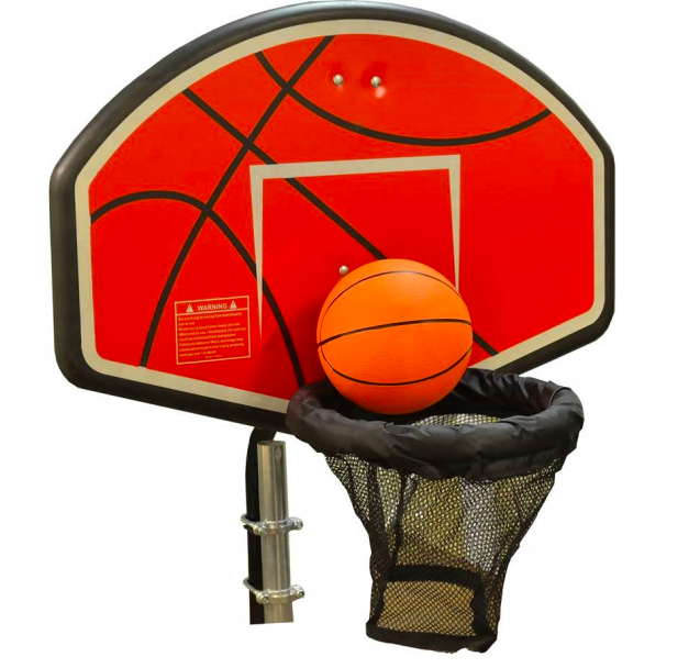 A product photo of the JumpKing Trampoline Basketball Hoop