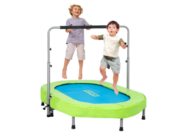 Two children laugh and bounce on the JOYMOR Trampoline. This is the #1 trampoline for toddlers.