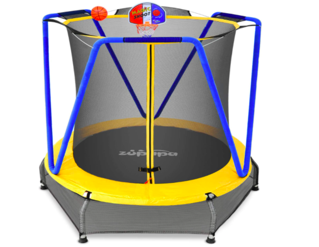 The Zupapa Trampoline is great for your toddler because it comes with a basketball hoop and balls!