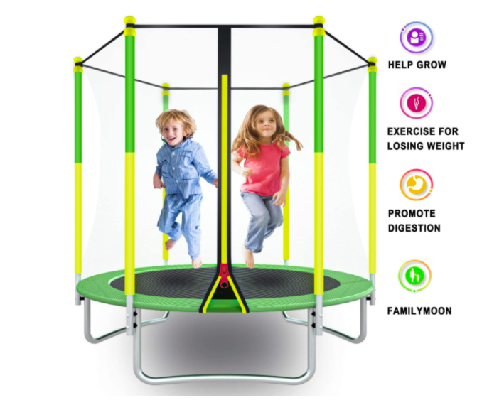 AOTOB Kids Trampoline with two young children bouncing on it.