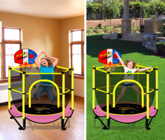 The VGMiu Trampoline can be used both indoors and outdoors. It is a perfect option for a toddler trampoline