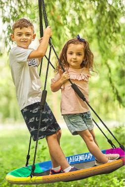 Two children enjoy the Laegendary Flying Saucer Tree Swing.