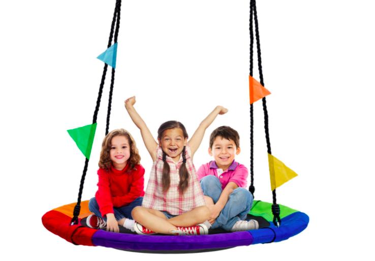 Three children play on the Sorbus Tree Swing.