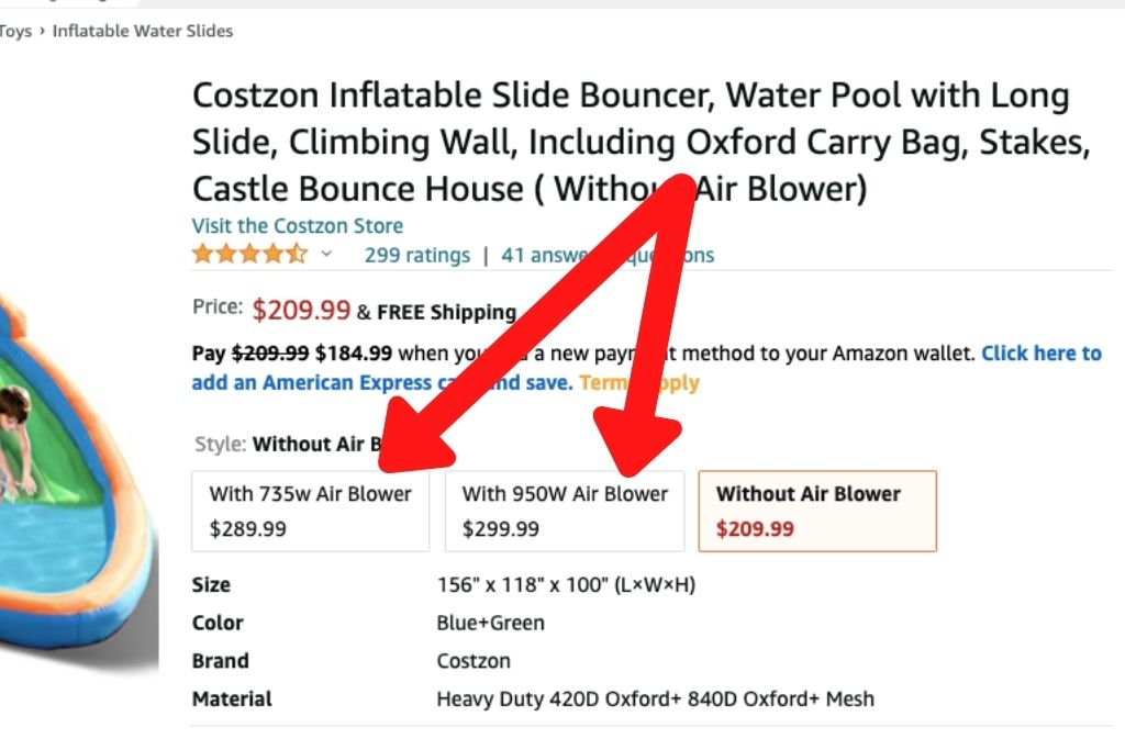 Costzon Inflatable Water Slide Deosn't Automatically Come With An Air Blower. To Include An Air Blower, Use The Picture Below To Select The Best Air Blower.