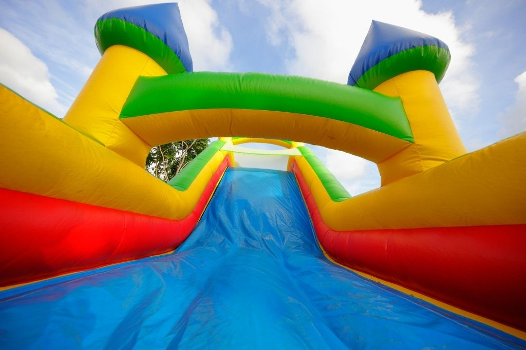 Slide view of a bounce house.