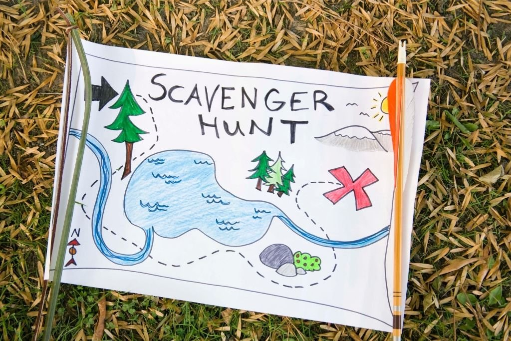Scavenger hunt map for the kids. Set this up in the backyard.
