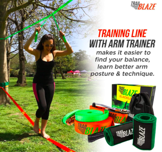 Trail Blaze Slackline Kit with Arm Trainer and Training Line