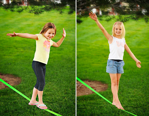 Two Girls Playing On Zero Gravity Slacklines