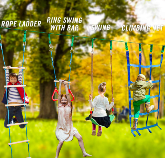 Children playing on ladders, swings, and rings.