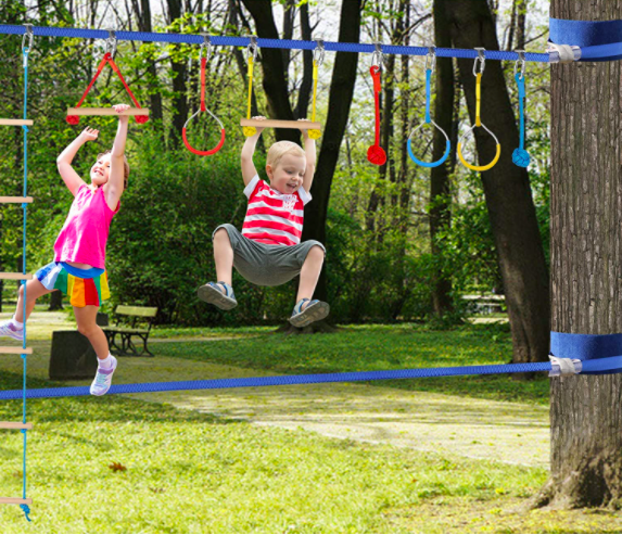 Two Children Playing On Monkey Bars