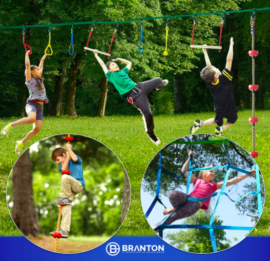 Branton Ninja Warrior Course For Kids. Many Kids Playing On The Warrior Course