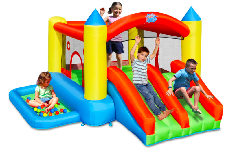 A big bounce house that can accommodate several children at a time.