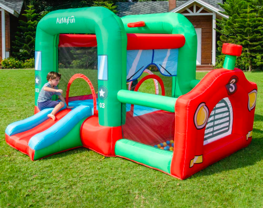 Locomotive Toddler Bounce House With Ball Pit