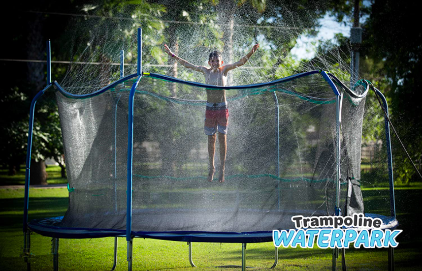 ThrillZoo Trampoline Sprinkler and boy jumping up and down.