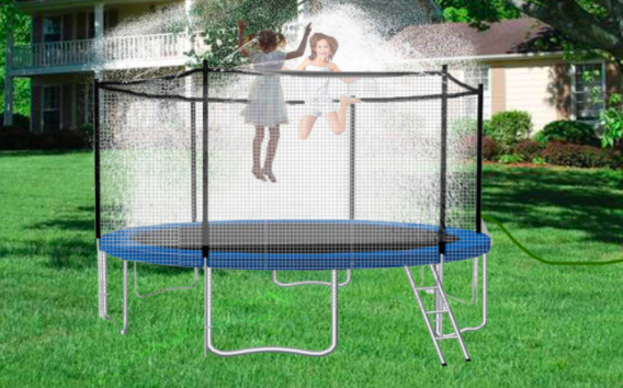 A blue trampoline surrounded by a safety net.