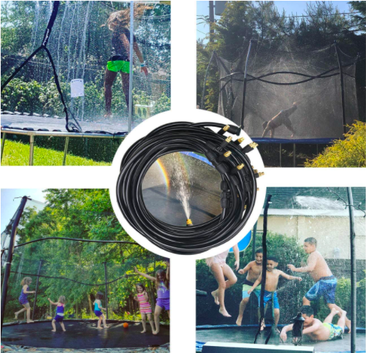 Four different pictures of trampoline sprinklers and kids playing