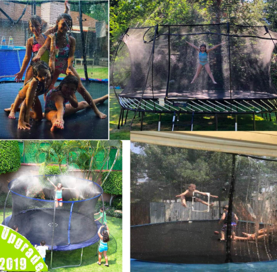 Several pictures of children playing on trampolines with sprinklers.