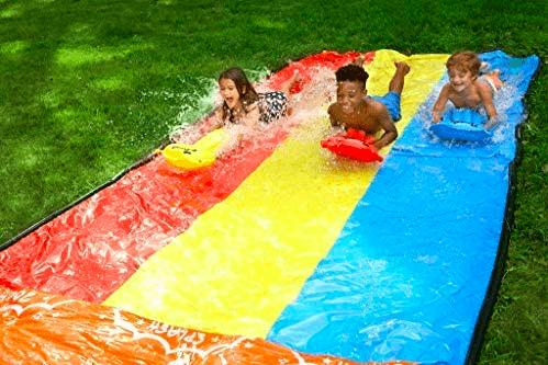 Three Children Racing Down The Jambo Triple Lane Splash, Slip, and Slide