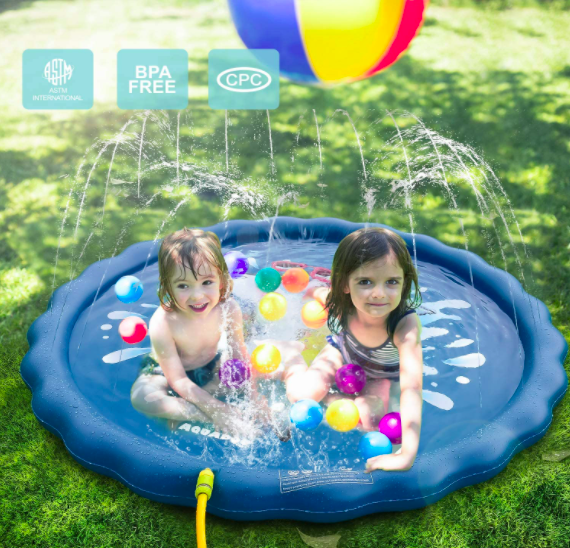 Two Children Playing In The Aquadoo Toddler Sprinkler