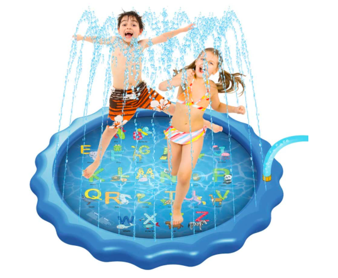 The Anntuk Toddler Sprinkler With Two Kids Playing. Perfect For Toddlers, Too!