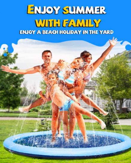 The Vistop Non-Slip Toddler Sprinkler With A Family Playing.