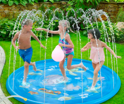 Three Children Playing In The Water Baby Water Sprinkler For Toddlers