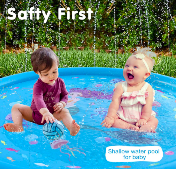 Two Babies Playing In The HITOP Kids Sprinkler.