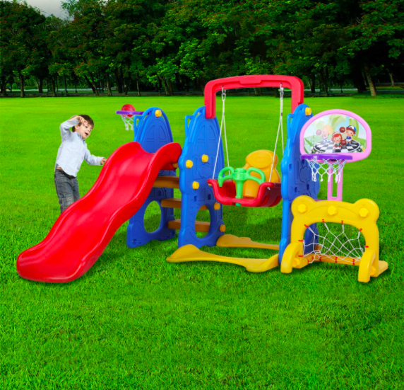 Little Boy Playing With The LAZY BUDDY 5-In-1 Toddler Slide and Swing Set