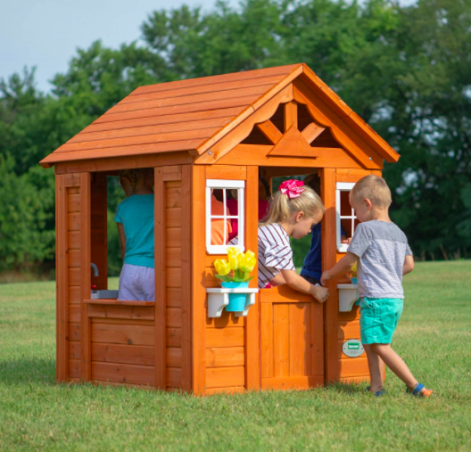 Backyard Discovery Timberlake All Cedar Wood Outdoor Playhouse For Kids