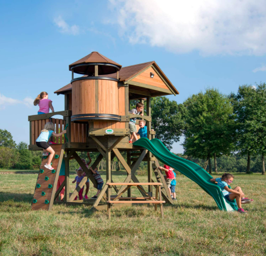 Backyard Discovery Eagles Nest Elevated Outdoor Wooden Playhouse For Kids.