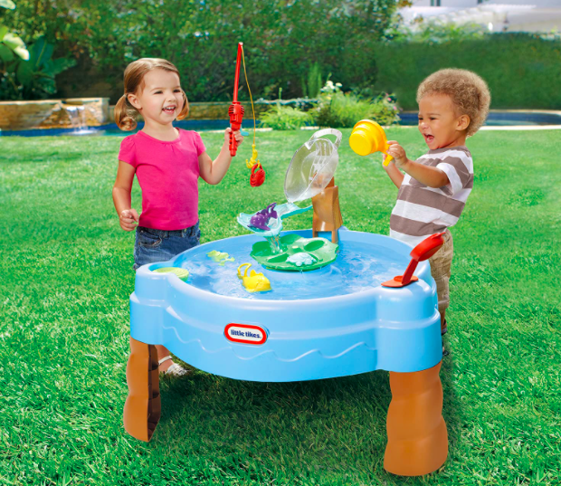 Two Kids Playing With One of the Best Water Tables For Kids: The Little Tikes Fishing Pond.