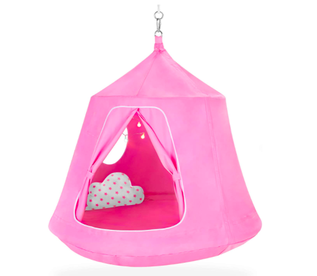 A Pink Hanging Tree Tent For Kids