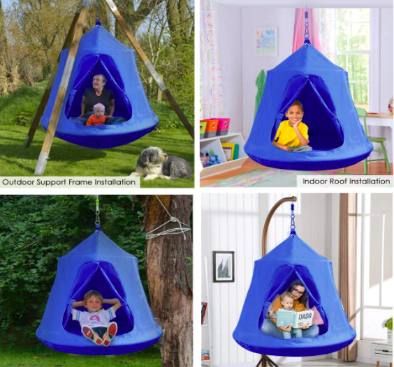 Four Pictures of the Gartio Hanging Tree Tent Being Used In Various Locations By Kids