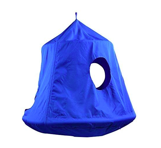 TopEva Blue Hanging Tree Tent For Kids With Two Windows Showing