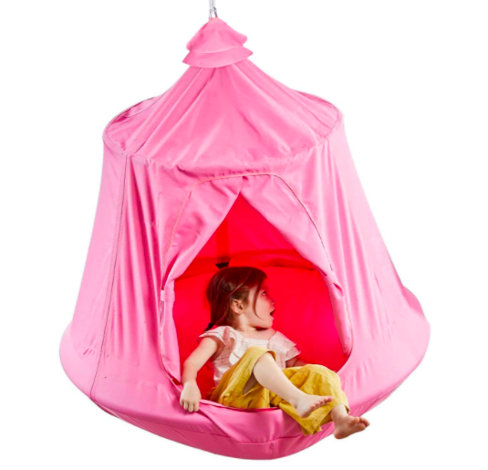 Happy Pie Kids Hanging Tree Tent With Young Girl Sitting On The Edge.