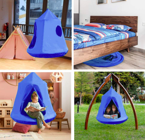 Four Pictures of the SNAN Hanging Tree Tent For Kids In Various Locations.