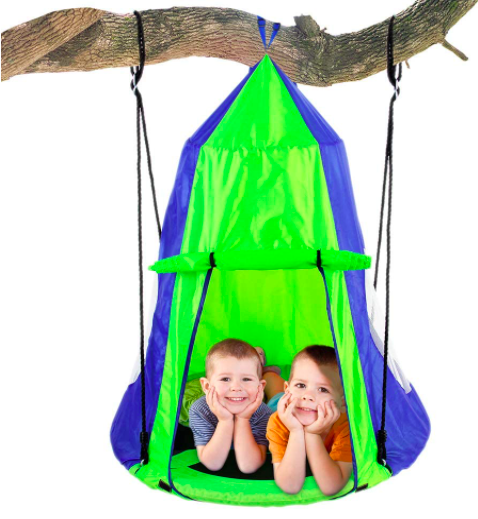 SereneLife Store Hanging Tree Tent With Two Kids Inside.