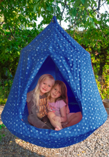 JumpTastic Hanging Tree Tent With Two Kids Inside.