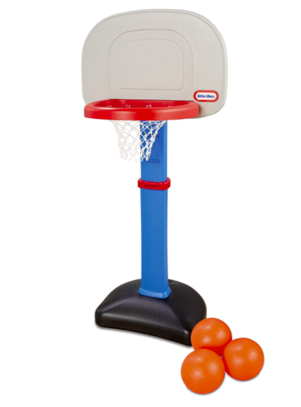 Little Tikes Basketball Hoop For Kids With Three Orange Basketballs Next To It.