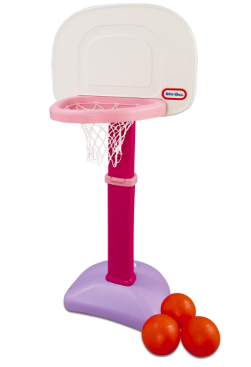 Pink Little Tikes Basketball Hoop For Kids With Three Basketballs Next To It.