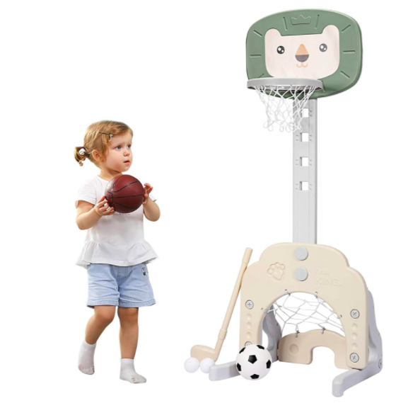 Costzon Basketball Hoop For Little Kids With A Young Girl Holding A Basketball.