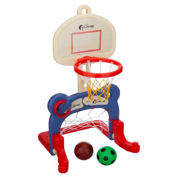 Dazmers Kids 3-in-1 Basketball Hoop And Soccer Net Combo.