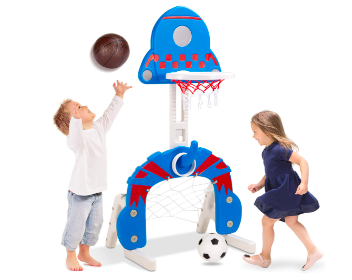 Best Choice Products Basketball Hoop And Soccer Net Combo With A Little Boy Shooting A Basketball And A Little Girl Kicking A Soccer Ball Into The Net.
