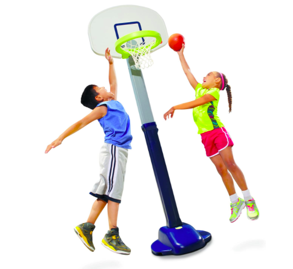 Little Tikes Adjust And Jam Basketball Hoop For Kids With Two Kids (A Girl And A Boy) Playing A Competitive Game Of Basketball.