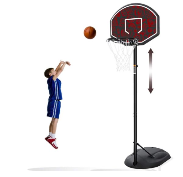 MaxKare Basketball Hoop For Kids With A Boy Shooting A Basketball.