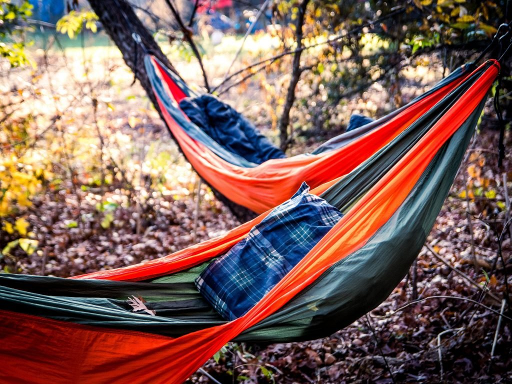 Two Small Hammocks In Backyard For Camping