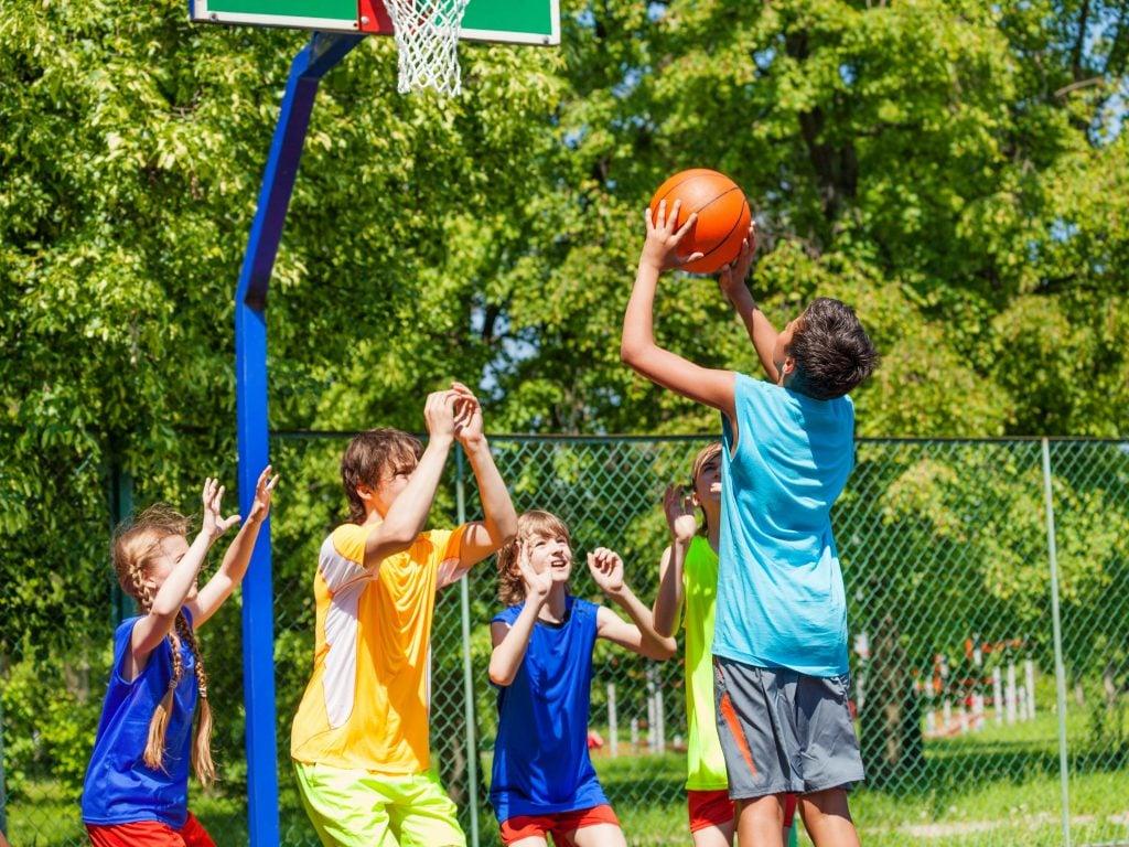 Kids Playing Basketball Outside