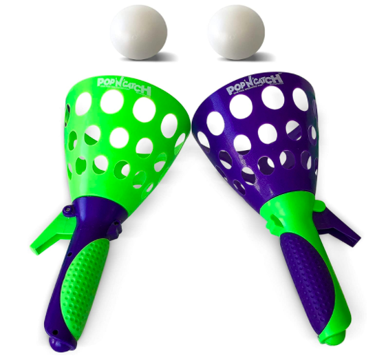 A Pop 'N' Catch Game With Two Ping Pong Balls - One of The Best Outdoor Winter Toys On The Market.