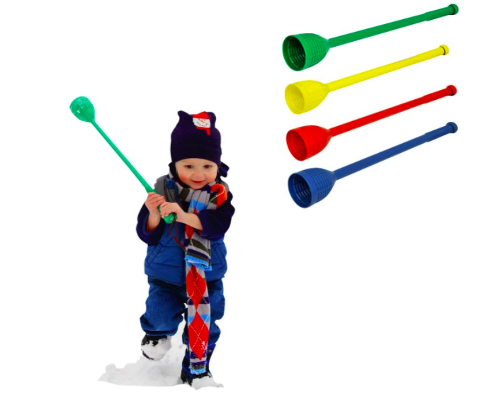 SnoFling Snowball Throwers With A Small Boy Playing With One.